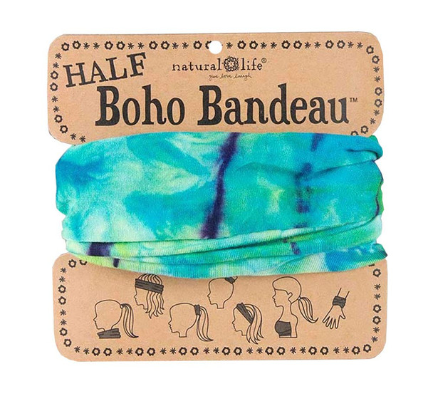 Aqua & Lime Tie Dye Half Boho Bandeau