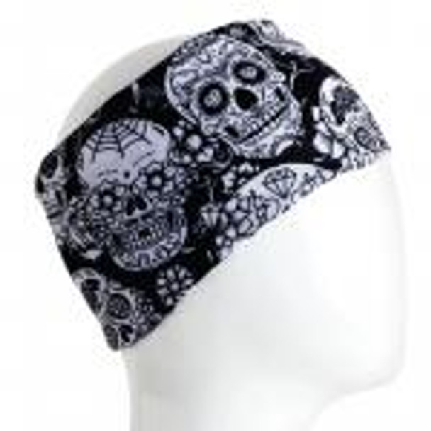 Black and White Skulls Half Size Infinity Bandana