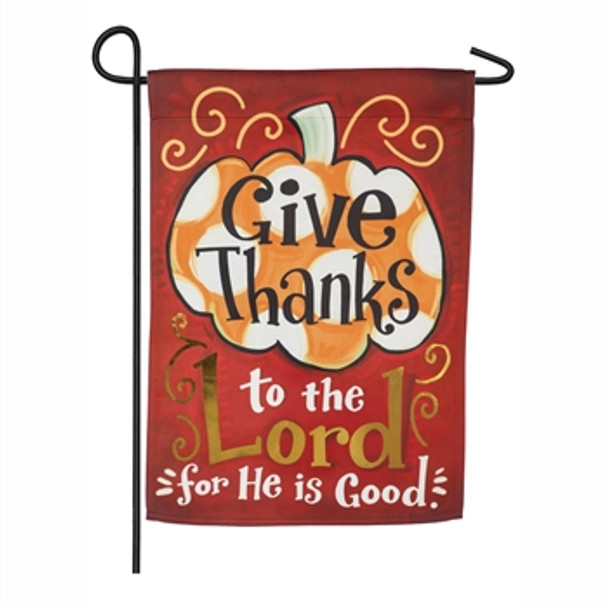 Give Thanks to the Lord suede Garden Flag
