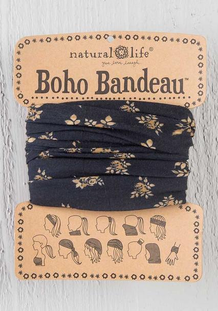Black & Cream Floral Boho Bandeau