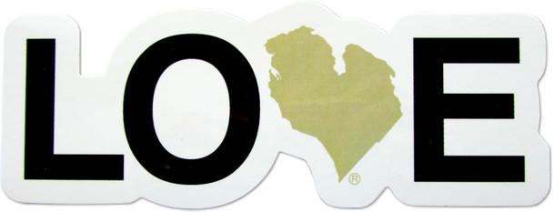 Love MI bumper sticker - sand