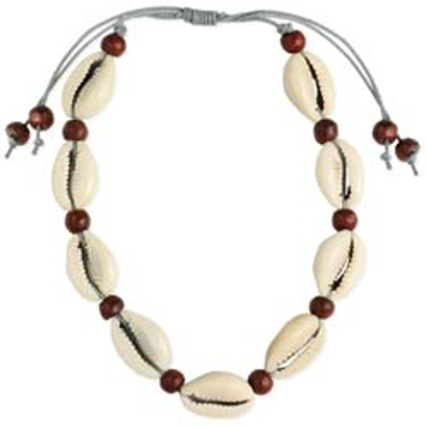 Cowrie Shell and Wood Anklet