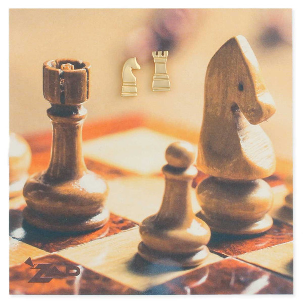 Chess Pieces gold  earring set