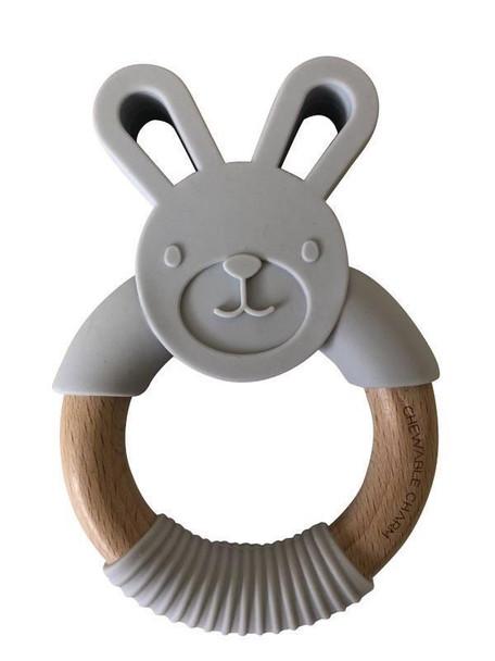 Grey Bunny Wood Teether