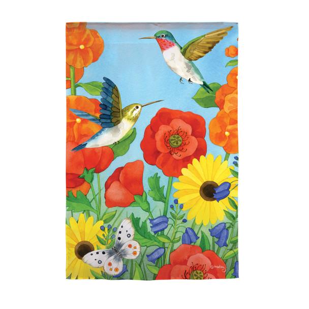 Happy Hummingbirds Garden Suede Flag