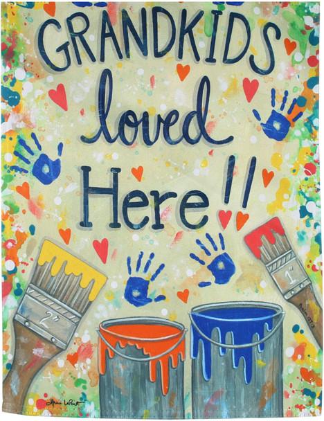 Grandkids Loved Here Garden Suede Flag