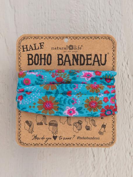 Light Blue Floral Half Boho Bandeau
