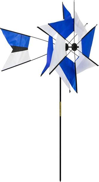 Blue/White Kaleidoscope Ground Spinner