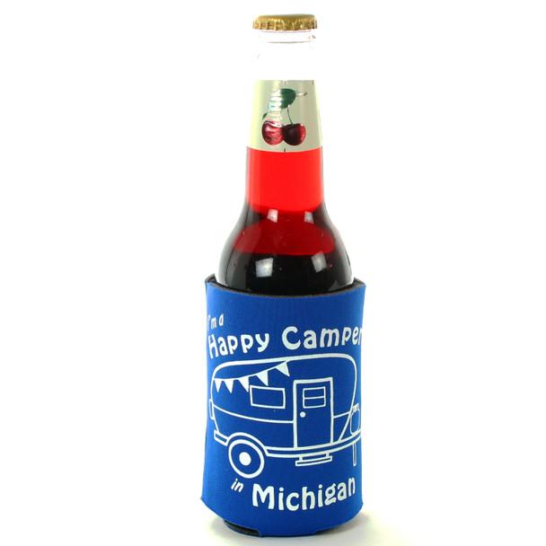 Blue Happy Camper Trailer Coozie