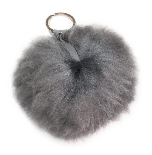 baby Alpaca pom pom poof fur zipper charm
