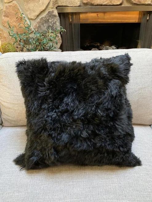 Suri Alpaca Handmade Alpaca Fur Pillow Cover - Black