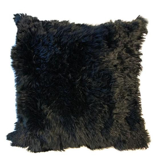 Suri Alpaca Handmade Alpaca Fur Pillow Cover - Black