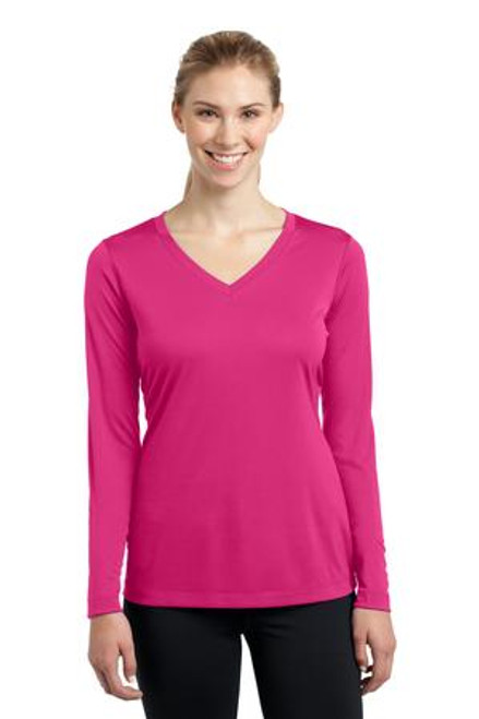 Ladies Long Sleeve V-Neck Performance