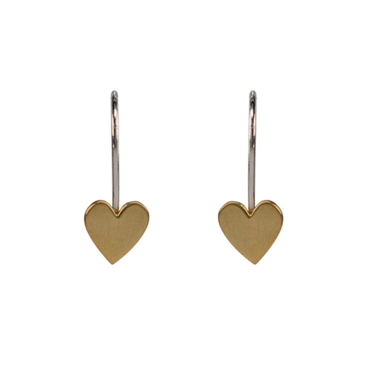 Matte heart on hook earring-14k
