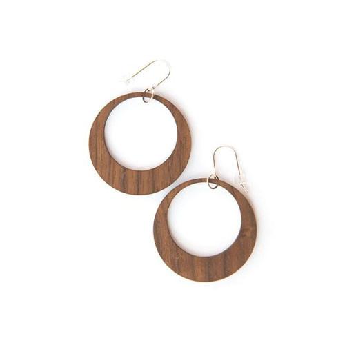 Ikaika-large walnut earrings