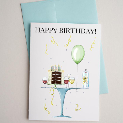 Table and Balloons-birthday card