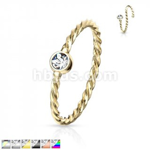 Twisted rope nose ring-14k