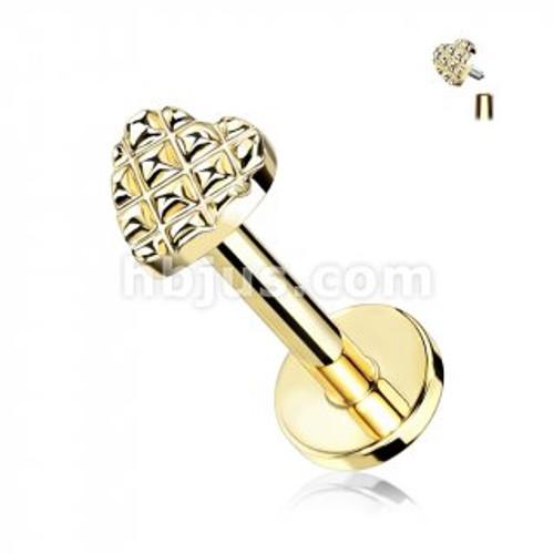 Diamond embossed heart labret-gold