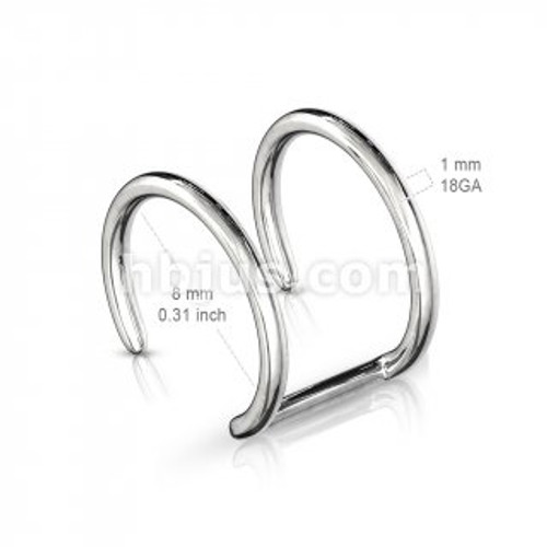 Double ear cuff - surgical steel