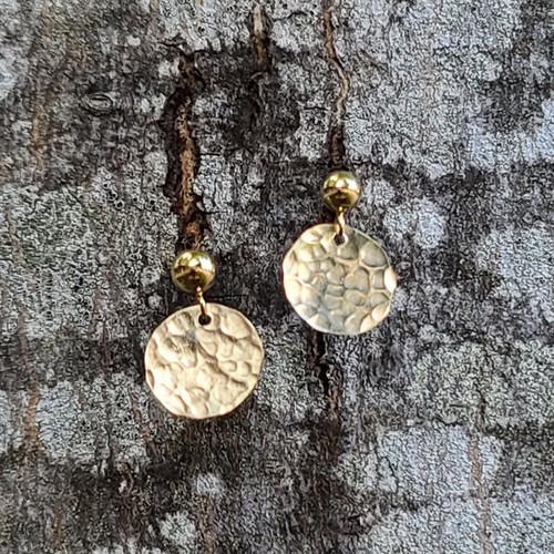 Circle stud earrings-14k