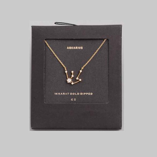 Aquarius 14k constellation necklace