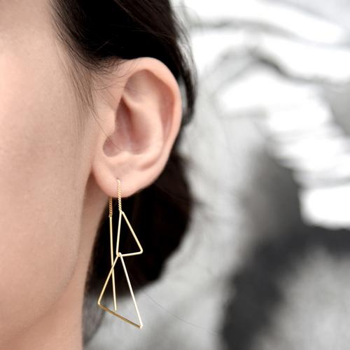 Dual triangle ear drapes-gold