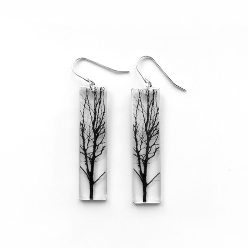 Tall tree earring 1 1/2""