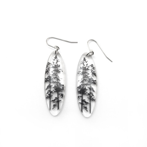 """Tall oval forest 1 1/2"""" earring"""
