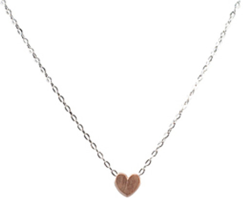 Floating heart necklace-rose gold