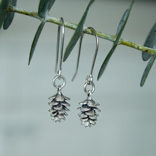 Pinecone charm earrings