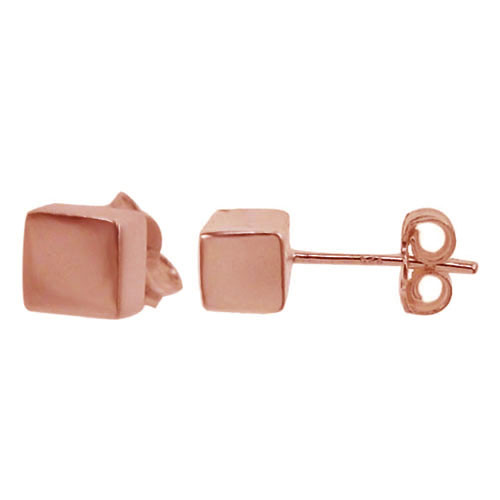 4mm cube post earring-rose gold