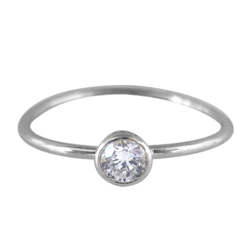 CZ on thin band ring-silver