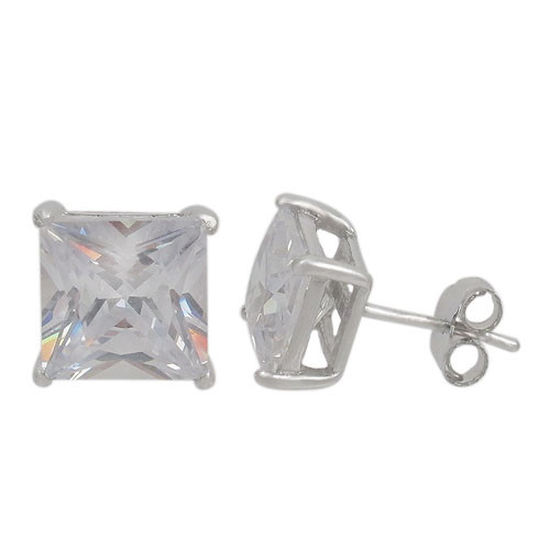 4mm square prong set stud