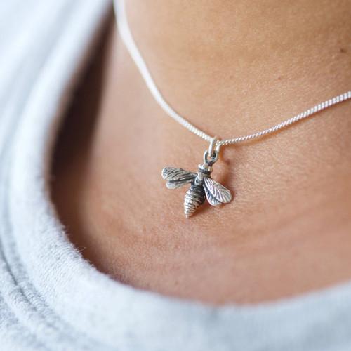 Bee tiny charm necklace