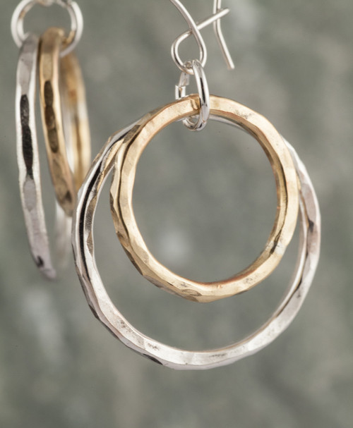 12 gauge double circle earring-silver/14k