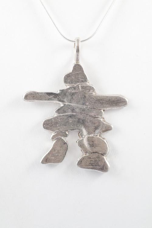 Silver large inukshuk pendant