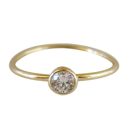 CZ on thin band ring -gold