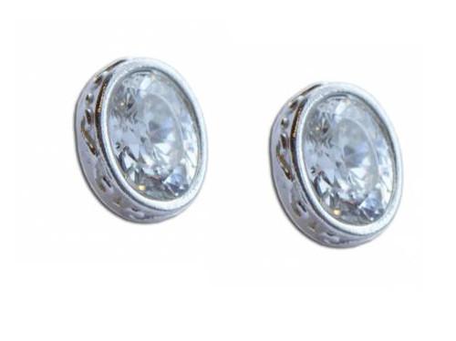 Oval CZ stud earring-1
