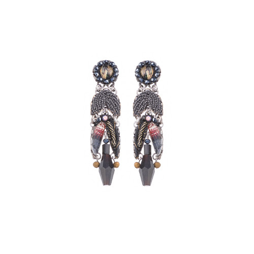 Moon Jet post earring