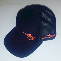c09a397c72a96 Marlin Hook Trucker Hat - Black Orange