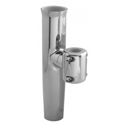 """TACO Stainless Steel Clamp-On Adjustable Rod Holder - Fits 1-11\/16"""" & 1-15\/16"""" O.D. Pipe"""