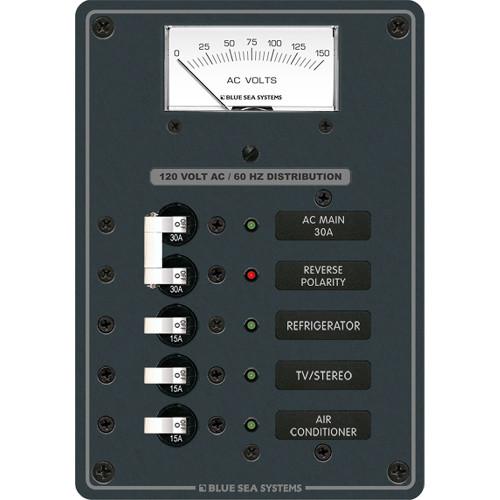 Blue Sea 8043 AC Main +3 Positions Toggle Circuit Breaker Panel   (White Switches)