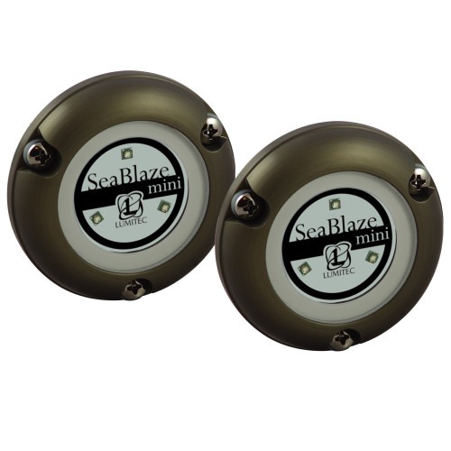 Lumitec SeaBlaze Mini - Underwater Light - Pair - Brushed Finish - Blue Non Dimming