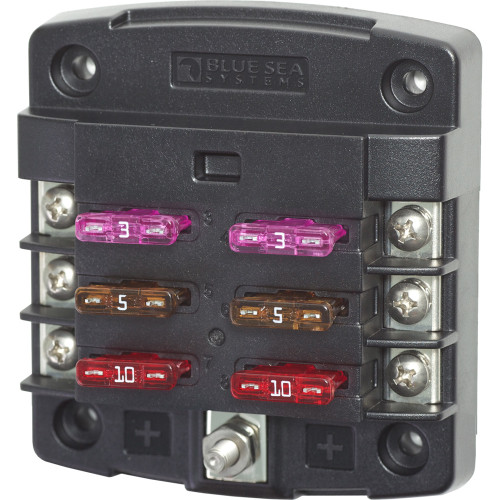Blue Sea 5033 ST Blade Fuse Block w\/out Cover - 6 Circuit w\/out Negative Bus