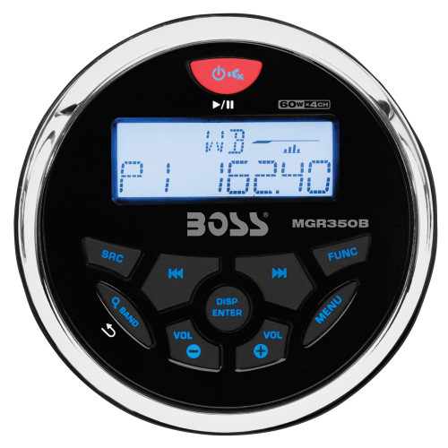 Boss Audio MGR350B Marine Gauge Style Radio - MP3\/CD\/AM\/FM\/RDS Receiver