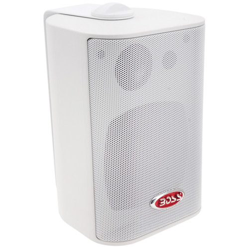 "Boss Audio MR4.3W 4"" 3-Way Marine Enclosed System Box Speaker - 200W - White"