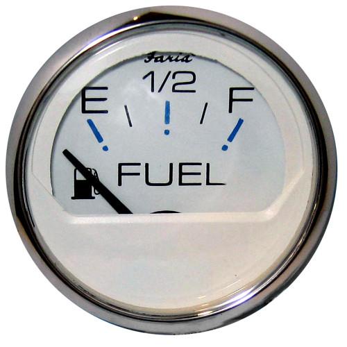 "Faria Chesapeake White SS 2"" Fuel Level Gauge (E-1\/2-F)"