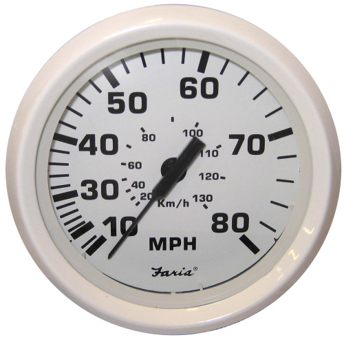 "Faria Dress White 4"" Speedometer - 80MPH (Mechanical)"