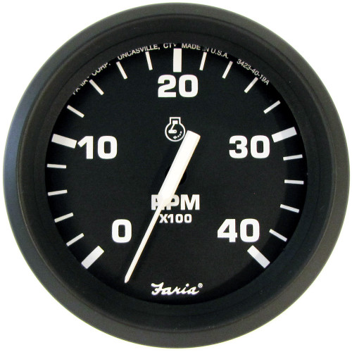 "Faria Euro Black 4"" Tachometer - 4,000 RPM (Diesel - Mechanical Takeoff & Var Ratio Alt)"