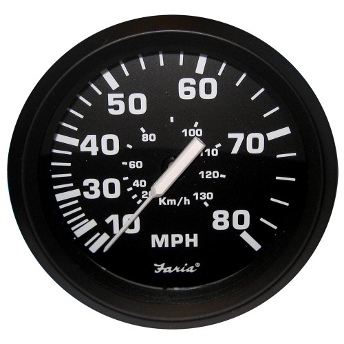 "Faria Euro Black 4"" Speedometer - 80MPH (Mechanical)"